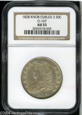 Bust Half Dollars: , 1828 50C Curl Base 2, Knob AU55 NGC. O-107, R.2. Boldly struck savefor the left side stars, this chestnut-gold and pearl-g...