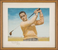 Golf Collectibles:Autographs, 1950's Bobby Jones Signed Print by President Dwight D. Eisenhower.....