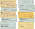 Baseball Collectibles:Others, 1971-72 Dave Bancroft Signed Checks Lot of 10....