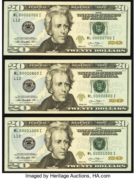 Fancy Serial Numbers Fr  2097-L $20 2013 Federal Reserve | Lot