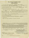 Football Collectibles:Others, 1931 Green Bay Packers vs. Frankford Yellow Jackets Game Contract. ...