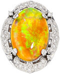 Estate Jewelry:Rings, Opal, Diamond, Platinum Ring The ring features...