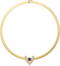 Estate Jewelry:Necklaces, Diamond, Sapphire, Gold Enhancer-Necklace. ...