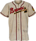 Baseball Collectibles:Uniforms, Circa 1948 Bill Voiselle Game Worn & Signed Boston Braves Uniform with World Series Attribution.. ...