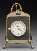 Decorative Arts, Continental, A Delage and Jaeger Early Automobile Radiator-Form Desk Clock,circa 1920. Marks to clock face: JAEGER, 6807. 7-1/4 inch...