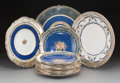 Ceramics & Porcelain, British:Modern  (1900 1949)  , A Fifteen-Piece Group of English Porcelain Plates Mounted in Shreve& Co. Silver Rims, 20th century. Marks to porcelain: (Po...(Total: 15 Items)