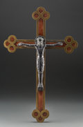 Decorative Arts, Continental, A Gothic Byzantine-Style Mahogany Crucifix, late 19th-early 20thcentury. 22-3/4 inches high x 14-1/2 inches wide (57.8 x 36...