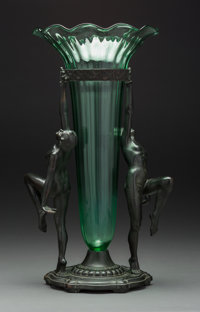An A.C.R. Emberger Art Deco Double Nude Centerpiece Vase, circa 1930 Marks: A.C.R. EMBERGER CO, CHICAGO
