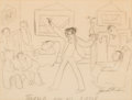 Fine Art - Work on Paper, James Thurber (American, 1894-1961). Thurber and his Circle.Pencil on paper. 10-1/2 x 13-5/8 inches (26.7 x 34.6 cm) (s...