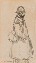 Works on Paper, Théophile Alexandre Steinlen (Swiss, 1859-1923). FR. Sohdien. Charcoal on paper. 8 x 5 inches (20.3 x 12.7 cm) (sheet). ...