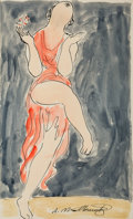 Works on Paper, Abraham Walkowitz (American, 1880-1965). Isadora Duncan. Watercolor and ink on paper. 14 x 8-1/4 inches (35.6 x 21.0 cm)...