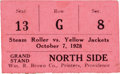 Football Collectibles:Tickets, 1928 Providence Steam Roller vs. Frankford Yellow Jackets Ticket Stub....