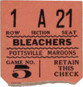 Football Collectibles:Tickets, 1927 Pottsville Maroons vs. Red Grange's New York Yankees Ticket Stub....