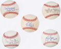 Autographs:Baseballs, Perfect Game Inscribed Single Signed Baseball Lot of 5 with Barker, Browning, Bunning, Haddix, & Rogers.. ...