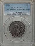 1826 1C -- Environmental Damage -- PCGS Genuine. AU Details. NGC Census: (8/82). PCGS Population: (13/114). CDN: $400 Wh...