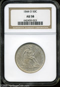 Seated Half Dollars: , 1844-O 50C AU58 NGC. A boldly struck and gently toned example with ample luster. A pair of mint-made cuds are noted on the ...