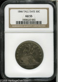 Seated Half Dollars: , 1846 50C Tall Date AU55 NGC. The Tall Date variety is much scarcerthan its Medium Date counterpart. Indigo-violet and gold...