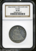 Seated Half Dollars: , 1846 50C 6 Over Horizontal 6 VF20 NGC. FS-003. Light golden-brownand sea-green patina adorns the margins, while the fields...