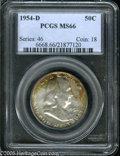 Franklin Half Dollars: , 1954-D 50C MS66 PCGS. Lustrous surfaces are overlain with splashesof crimson, sea-green, violet, magenta, and lime-green p...