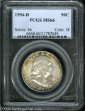 Franklin Half Dollars: , 1954-D 50C MS66 PCGS. Well struck with vibrant luster and speckled,multicolored patina across the reverse, and near the ob...