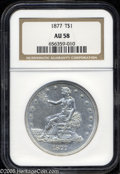 Trade Dollars: , 1877 T$1 AU58 NGC. Colorless, and still highly lustrous lightly circulated example. Numerous light contact marks dot the su...