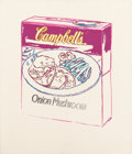 Post-War & Contemporary:Pop, Andy Warhol (1928-1987). Campbell's Soup Box (OnionMushroom), 1986. Synthetic polymer paint and silkscreen ink oncanva...