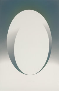 Larry Bell (b. 1939) ELIN 56 (Ellipse with insert), 1982 Aluminum and silicon monoxide on Stonehenge