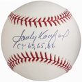 "Autographs:Baseballs, Sandy Koufax ""CY 63, 65, 66"" Single Signed Baseball.. ..."