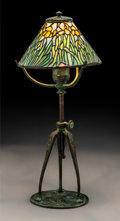Glass, Tiffany Studios Leaded Glass Iris Bronze Boudoir Lamp. Circa 1900. Base stamped TIFFANY STUDIOS, NEW YORK, 5197... (Total: 2 Items)