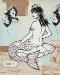 Post-War & Contemporary:Contemporary, FAILE (20th/21st Century). Mermaid. Acrylic, spray paint,and pencil on canvas. 60-1/2 x 48-1/2 inches (153.7 x 123.2 cm...