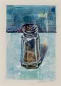 Post-War & Contemporary:Contemporary, Ralph Goings (b. 1928). Pepper Shaker- Blue, 1994.Watercolor and gouache on foamcore. 4-1/2 x 3 inches (11.4 x 7.6cm) ...