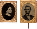 Political:Ferrotypes / Photo Badges (pre-1896), Abraham and Mary Todd Lincoln: Gem Ferrotype Badges....