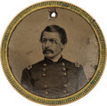 Political:Ferrotypes / Photo Badges (pre-1896), George B. McClellan: Large No-Name Back-to-Back Ferrotype Badge....