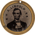 Political:Ferrotypes / Photo Badges (pre-1896), Abraham Lincoln: Dated Back-to-Back Ferrotype....