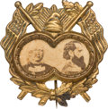 Political:Ferrotypes / Photo Badges (pre-1896), Greeley & Brown: Highly-Desirable, Unlisted, Ornate Cardboard Jugate....