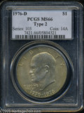 Eisenhower Dollars: , 1976-D $1 Type Two MS66 PCGS. This semi-prooflike Gem has dusky apricot color and an above average strike. The surfaces are...