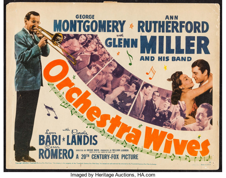 "Orchestra Wives (20th Century Fox, 1942). Title Lobby Card (11"" X 
