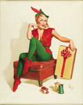 Illustration:Pin-Up, FOREST H. CLOUGH (American 1910 - 1985) . Christmas Elf,original pin up painting. Oil on canvas . 30 x 24in. . Signed l...(Total: 1 Item)