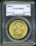 Liberty Double Eagles: , 1894-S $20 MS62 PCGS. Light yellow-gold surfaces with a great deal of flashy luster. Numerous light wispy marks dot the sur...
