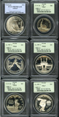 Modern Issues: , 1983-S $1 Olympic Silver Dollar PR67 PCGS, a freckle of tan colorbeneath the P in OLYMPIAD; 1984-S Olympic Silver Dolla... (6 Coins)