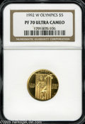 1992-W G$5 Olympic Gold Five Dollar PR70 Ultra Cameo NGC. Unimprovable cameo contrast and flawless preservation confirm...