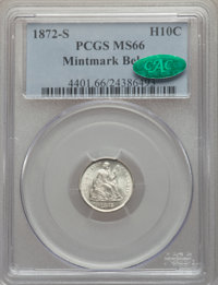 1872-S H10C Mintmark Below Bow MS66 PCGS. CAC. PCGS Population: (54/10). NGC Census: (21/2). CDN: $650 Whsle. Bid for NG...