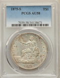 Trade Dollars: , 1875-S T$1 AU58 PCGS. PCGS Population: (179/903). NGC Census:(134/737). AU58. Mintage 4,487,000. ...