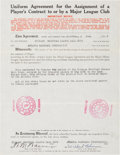 Baseball Collectibles:Others, 1934 Wilbert Robinson Signed Letter of Transfer. ...
