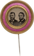 Political:Ferrotypes / Photo Badges (pre-1896), Grant & Colfax: Colorful Ferrotype Jugate Stickpin in Great Shape....