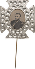 """Political:Ferrotypes / Photo Badges (pre-1896), Ulysses S. Grant: Oval Ferrotype Stickpin with Faceted """"Diamonds"""" Frame...."""