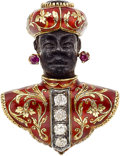 Estate Jewelry:Brooches - Pins, Ruby, Diamond, Ebony, Gold, Silver Brooch. ...