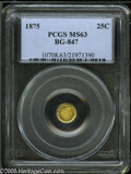 California Fractional Gold: , 1875 25C Indian Round 25 Cents, BG-847, R.4, MS63 PCGS. Theundulating fields contrast well with the slightly frosted devic...