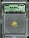 California Fractional Gold: , 1870 50C Liberty Round 50 Cents, BG-1024, Low R.4, MS61 ICG.Initial G and date below bust, and a star is centered above th...
