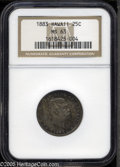 Coins of Hawaii: , 1883 25C Hawaii Quarter MS63 NGC. Dusky charcoal-gray patinaoverlays lustrous surfaces. A few minute marks are noted on th...